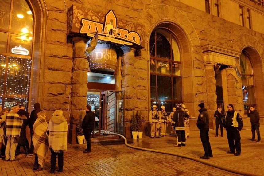 В центре Киева горел ресторан «Шато»