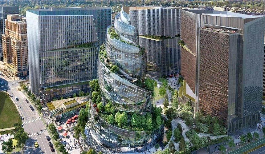 Спиралевидная башня и деревья: Amazon показала проект штаб-квартиры вВирджинии