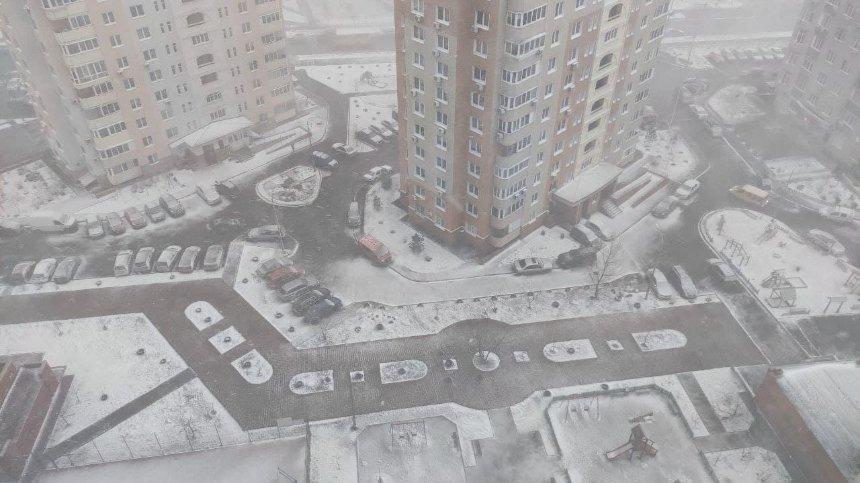 Киев накрыла снежная метель