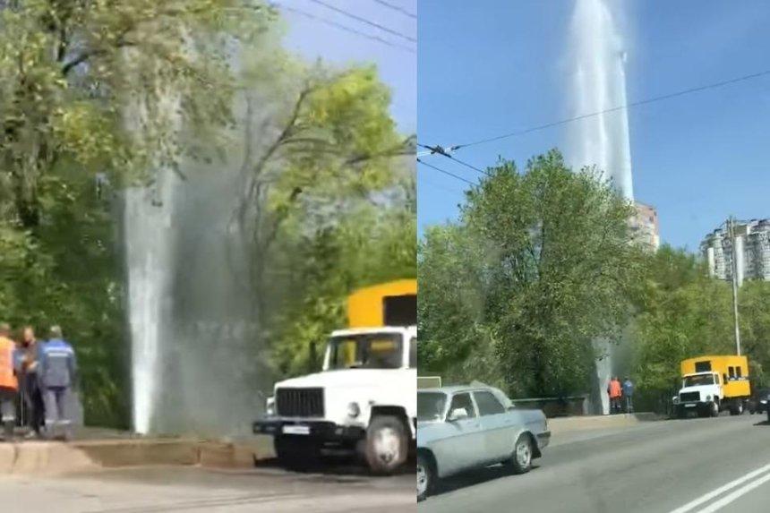 В Киеве недалеко от вокзала заметили импровизированный «фонтан»