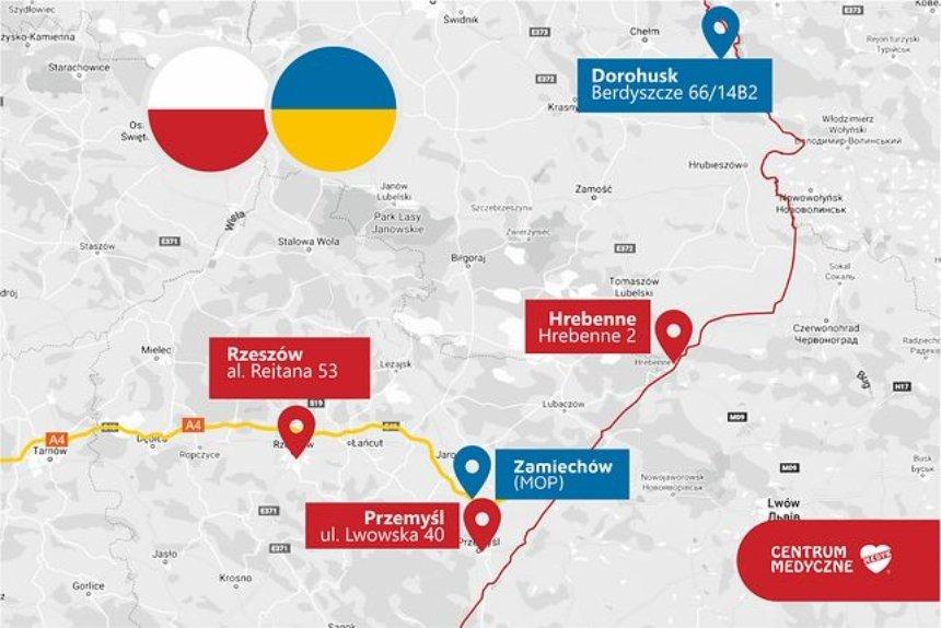 Карта пунктов, в которых будут вакцинировать приезжающих в Польшу украинцев