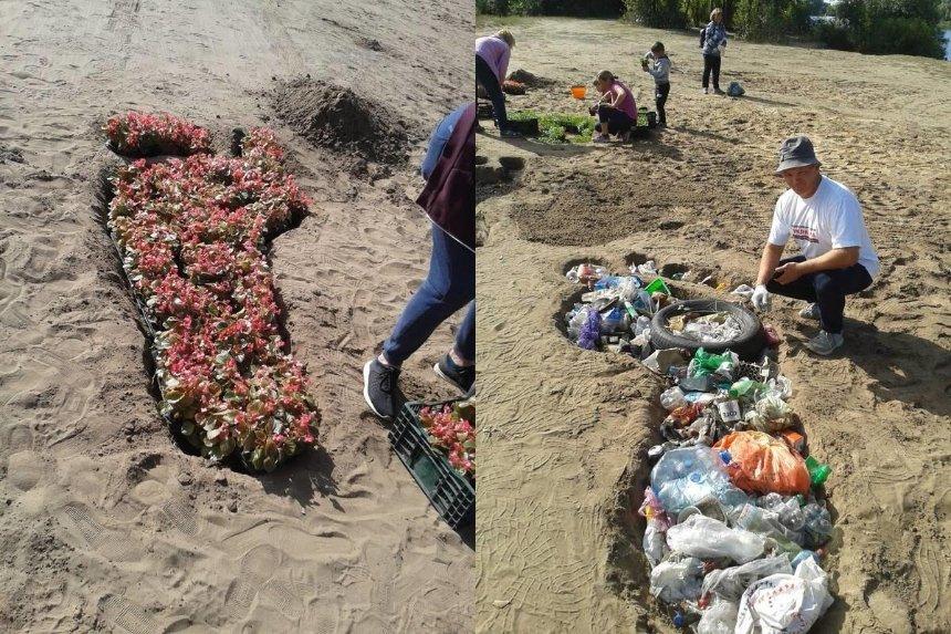 На Осокорках обустроили необычные клумбы из мусора и цветов