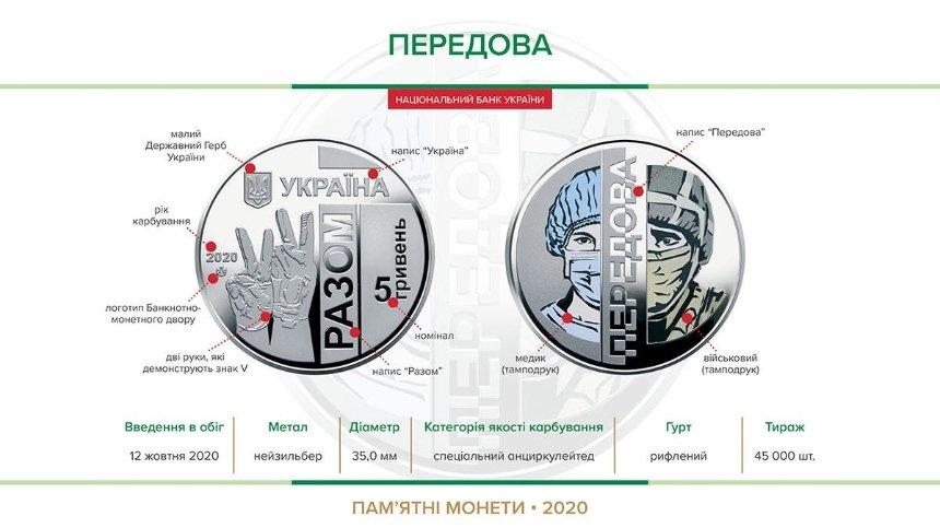 Нацбанк выпустил памятную монету «Передовая» вчесть военных имедиков