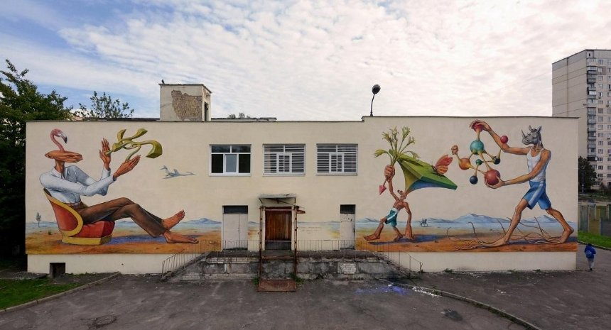 Бывший участник Interesni Kazki нарисовал сюрреалистичный мурал на киевской школе