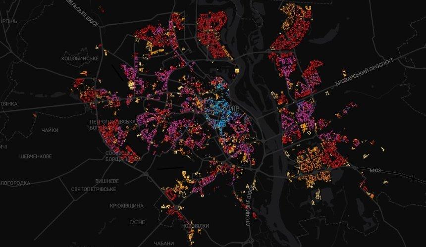 Появилась интерактивная карта с возрастом жилых домов Киева