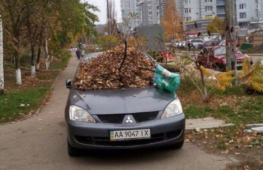 Киевляне «по-осеннему» наказали автохама (фото)