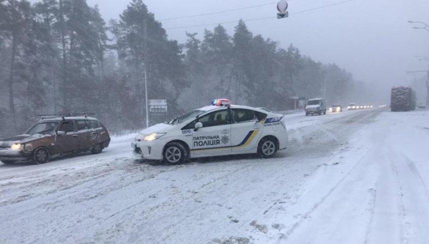 Скільки аварій трапилось у Києві через перший сніг