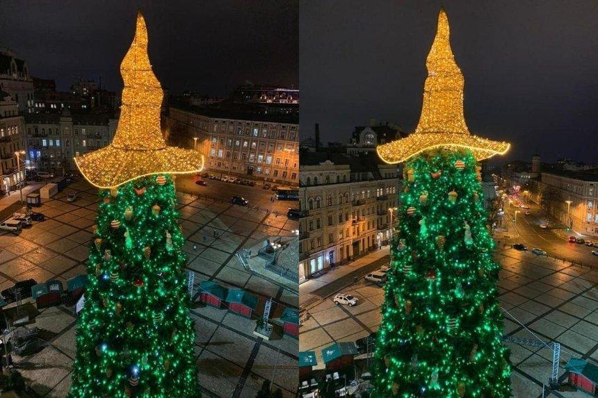 На Софийской площади украсили главную новогоднюю елку