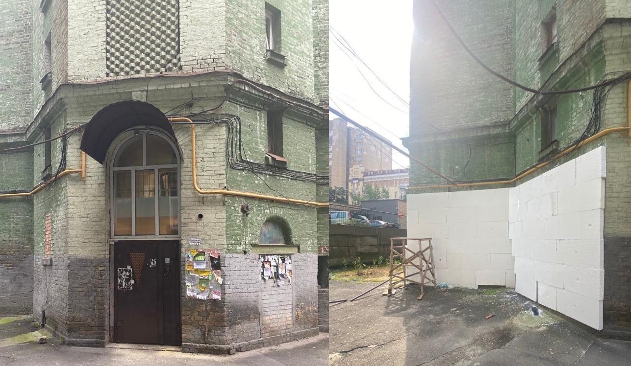 Исторический дом наулице Гончара обшивают утеплителем